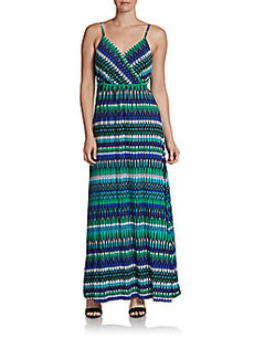Calvin Klein Printed Surplice-Top Maxi Dress