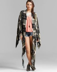Free People Jacket - Scarf Print Duster