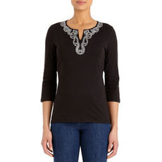 Scoop Neck Cotton Tunic with Split Neck (Plus)