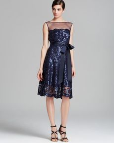Tadashi Shoji Dress - Sleeveless Illusion Neckline Sequin Lace Belted