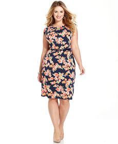 Charter Club Plus Size Cap-Sleeve Floral-Print Dress