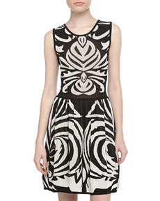 Max Studio Sleeveless Graphic-Print Jacquard Dress, Black/Ivory