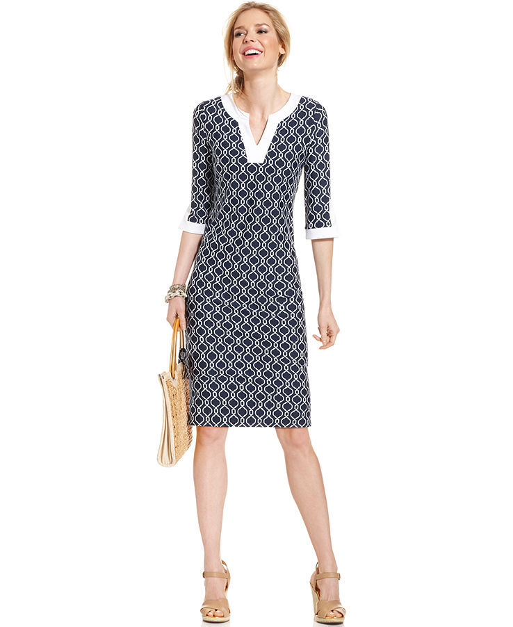 Charter Club Petite Three-Quarter-Sleeve Printed Colorblocked Dress