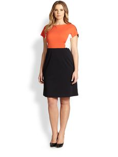 Marina Rinaldi, Sizes 14-24 Colorblock Jersey Dress