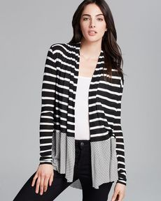 Three Dots Mixed Stripe Cardigan
