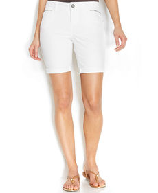 INC International Concepts Curvy-Fit Studded Roll-Cuff Shorts, White Wash