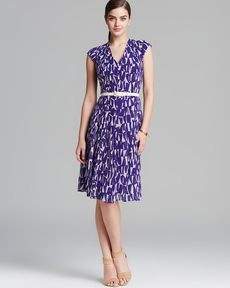 Anne Klein Dress - Cap Sleeve V Neck Print Georgette Fit and Flare