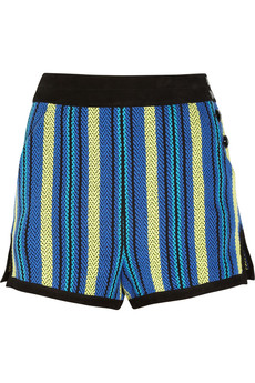 Proenza Schouler Suede-trimmed striped tweed shorts