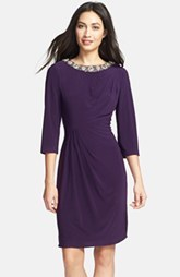 Alex Evenings Embellished Side Draped Jersey Dress