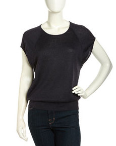 Lafayette 148 New York Linen Cap-Sleeve Scoop-Neck Dolman Sweater, Blue