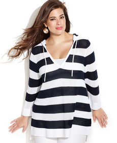 INC International Concepts Plus Size Striped Hooded Perforated Tunic