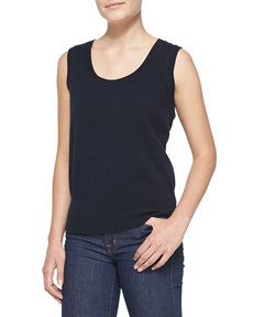 Escada Sleeveless Cashmere Top, Navy