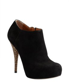 Fendi black suede side-zip platform booties