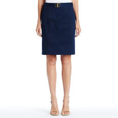 Stretch Cotton Pencil Skirt with Belt