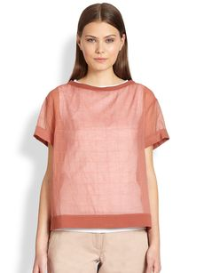 Brunello Cucinelli Sheer Boxstitch Blouse