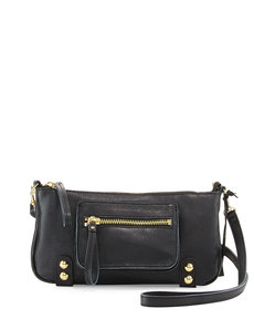 Linea Pelle Dylan Zip Leather Crossbody Bag, Black