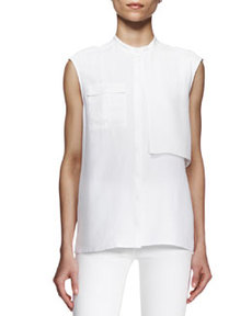 J Brand Ready to Wear Giles Sleeveless Flap-Panel Blouse