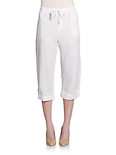 Saks Fifth Avenue BLUE Cropped Linen Pants