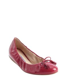 Prada peony leather logo and tassel bow detail ballet flats