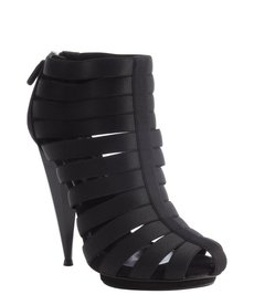 Gucci black strappy canvas and suede rear zip bootie
