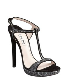 Miu Miu black and silver glitter suede strappy heel sandals