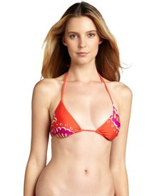 Trina Turk coral and plum printed 'Yukateca' sliding triangle top
