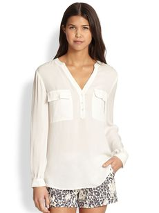 Joie Pauline Twin Pocket Silk Blouse