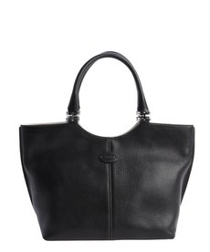Tod's black leather logo tote