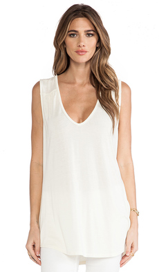 Michael Stars Double V Neck Shirt Tail Tank in Ivory