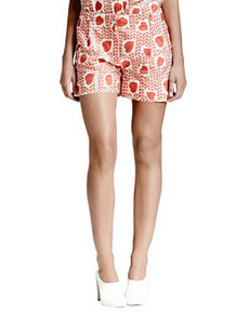 Heart & Lip-Print Pleated Shorts, Medium Pink   Heart & Lip-Print Pleated Shorts, Medium Pink