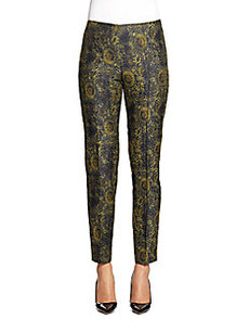 Lafayette 148 New York Metallic Jacquard Straight Leg Pants