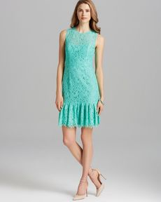 Shoshanna Dress - Rainey Sleeveless Lace Drop Waist Flare Hem