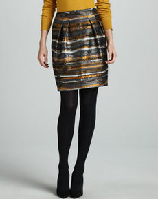Lafayette 148 New York Jackie Pleated Jacquard Skirt