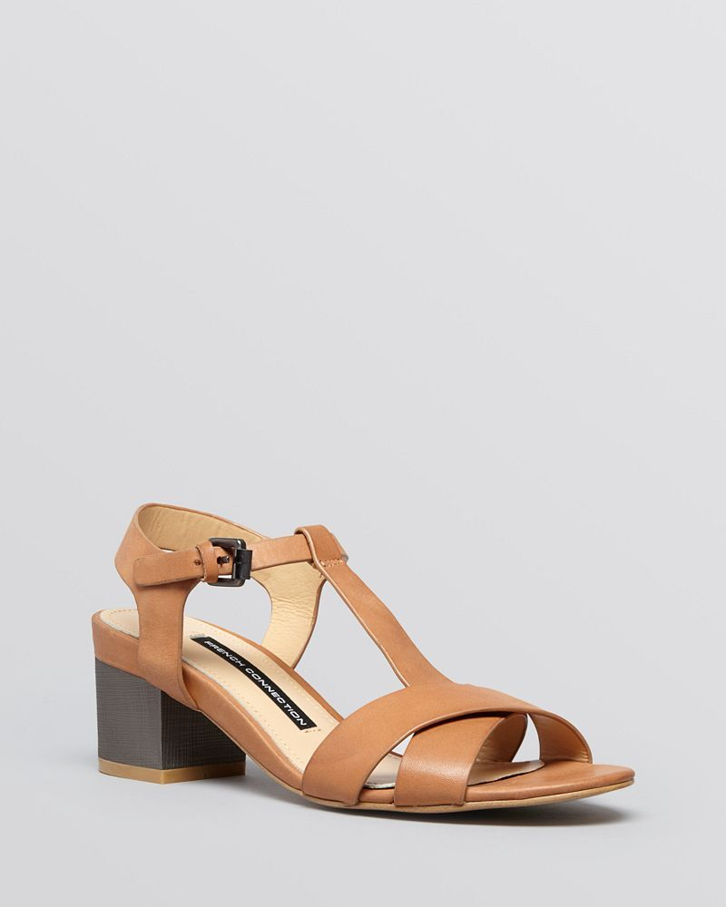 FRENCH CONNECTION Open Toe City Sandals - Lara Block Heel