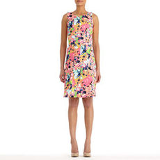 Sleeveless Floral Print A-Line Dress