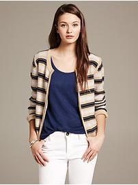 Multi-Stripe Zip Cardigan