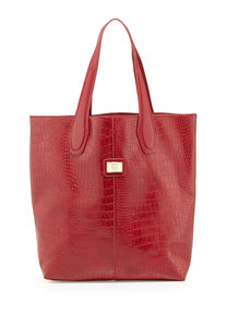 Christian Lacroix Charlene Croc-Embossed Tote Bag, Red