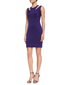 Cutout-Shoulder Stretch Fitted Dress   Cutout-Shoulder Stretch Fitted Dress