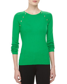 Michael Kors Button-Shoulder Cashmere Top, Palm