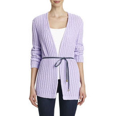 Long-Sleeve Rib-Stitched Cardigan