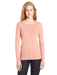 Three Dots Red Women's Classic Fit Long Sleeve Crew Neck