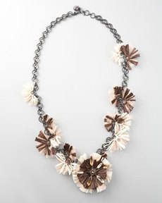 "Lanvin Long Raffia Flower Necklace, 41""L"