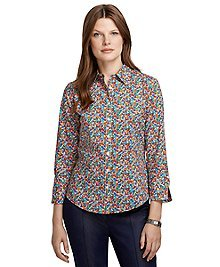 Fitted Three-Quarter Sleeve Floral Print Shirt