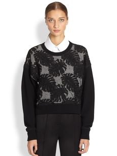 Jason Wu Embroidered Combo Wool Sweater