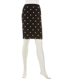 Joan Vass Reversible Polka-Dot Knit Skirt