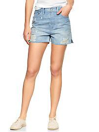 1969 destructed raw-edge high-rise denim shorts