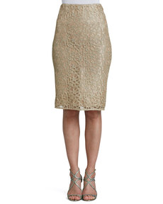 Kay Unger New York Metallic Lace Straight Skirt