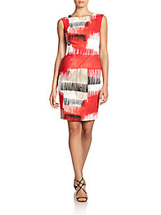 Carmen Marc Valvo Abstract-Print Cotton Sheath Dress