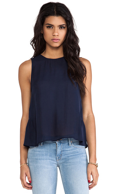 Joie Ayana Silk Tank in Navy