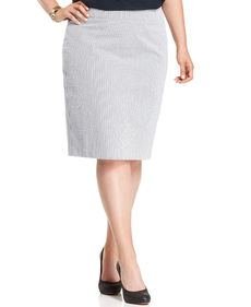 Jones New York Collection Plus Size Striped Pencil Skirt